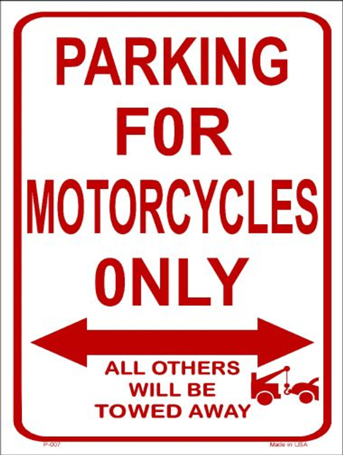 Motorcycle Parking Only Wholesale Metal Novelty Parking Sign