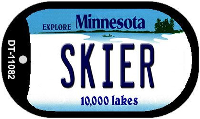 Skier Minnesota Wholesale Novelty Metal Dog Tag Necklace DT-11082