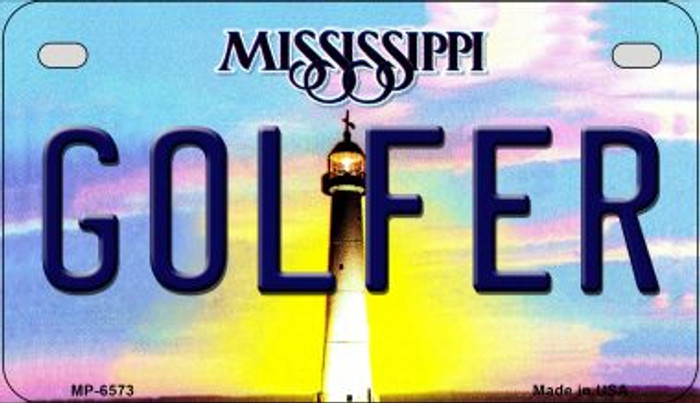 Golfer Mississippi Wholesale Novelty Metal Motorcycle Plate MP-6573