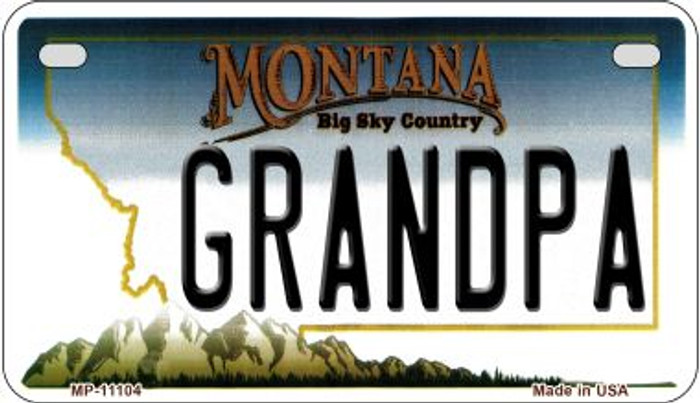 Grandpa Montana Wholesale Novelty Metal Motorcycle Plate MP-11104