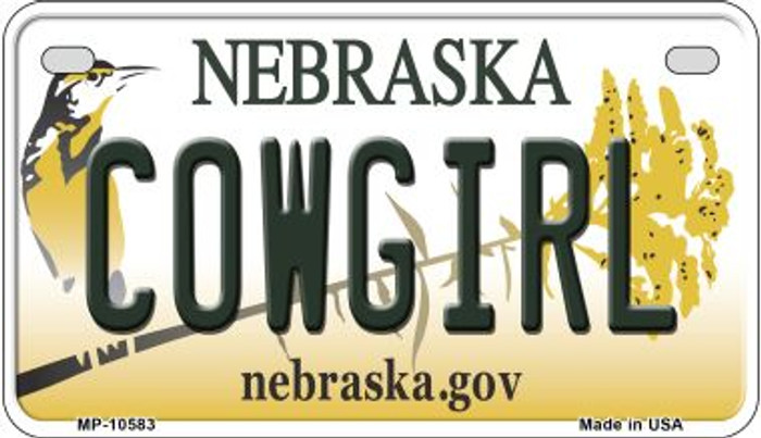Cowgirl Nebraska Wholesale Novelty Metal Motorcycle Plate MP-10583