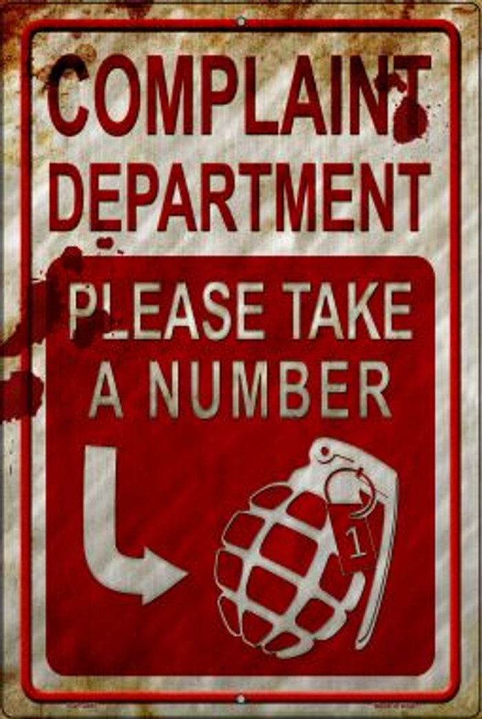 Complaint Department Take A Number Wholesale Novelty Metal Large Parking Sign LGP-2497