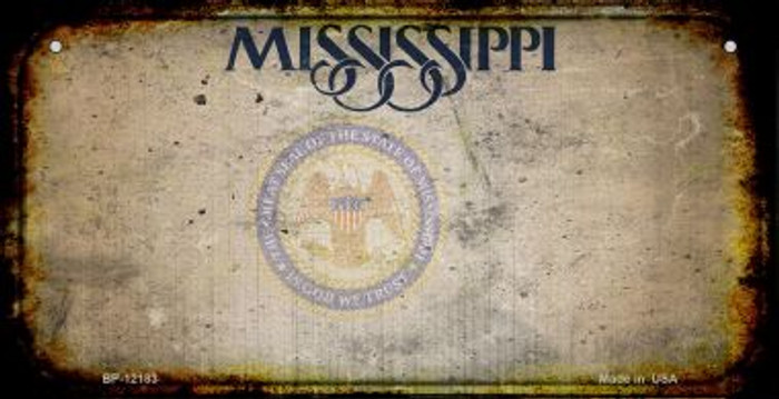 Mississippi Great Seal Rusty Blank Wholesale Novelty Metal Bicycle Plate BP-12183