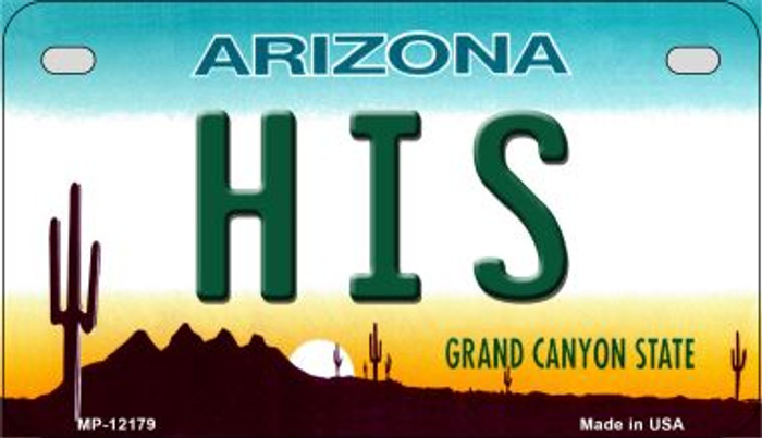 His Arizona Wholesale Novelty Metal Motorcycle Plate MP-12179
