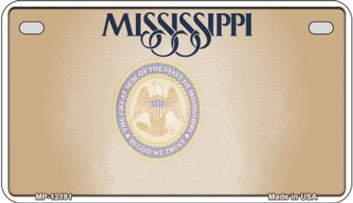 Mississippi Great Seal Blank Wholesale Novelty Metal Motorcycle Plate MP-12181