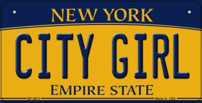 City Girl New York Wholesale Novelty Metal Bicycle Plate BP-8972