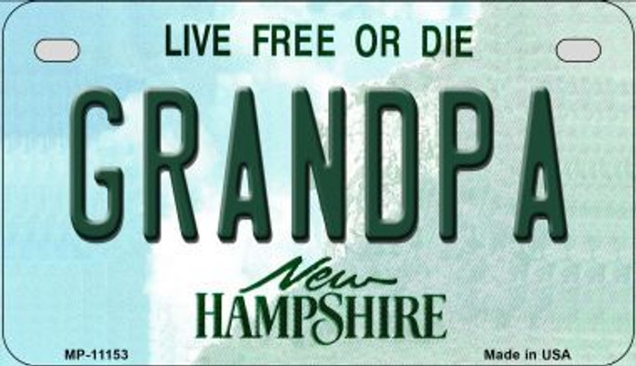 Grandpa New Hampshire Wholesale Novelty Metal Motorcycle Plate MP-11153
