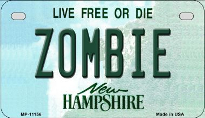 Zombie New Hampshire Wholesale Novelty Metal Motorcycle Plate MP-11156