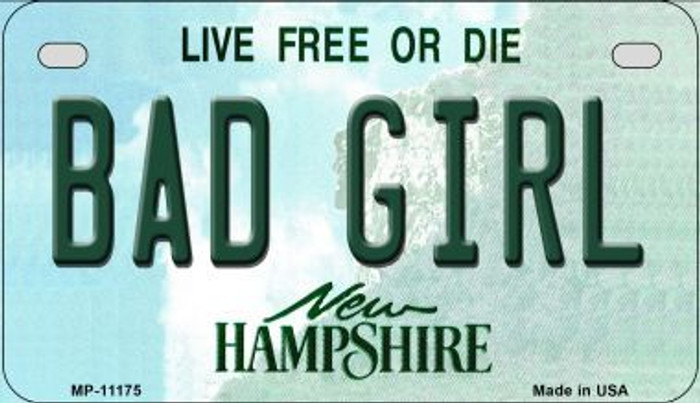 Bad Girl New Hampshire Wholesale Novelty Metal Motorcycle Plate MP-11175