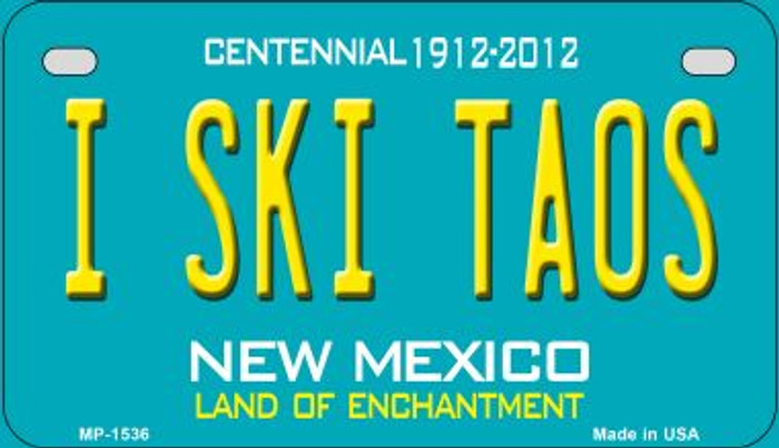 I Ski Taos Teal New Mexico Wholesale Novelty Metal Motorcycle Plate MP-1536