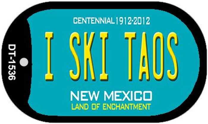 I Ski Taos Teal New Mexico Wholesale Novelty Metal Dog Tag Necklace DT-1536