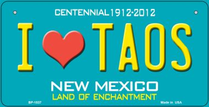 I Love Taos Teal New Mexico Wholesale Novelty Metal Bicycle Plate BP-1537