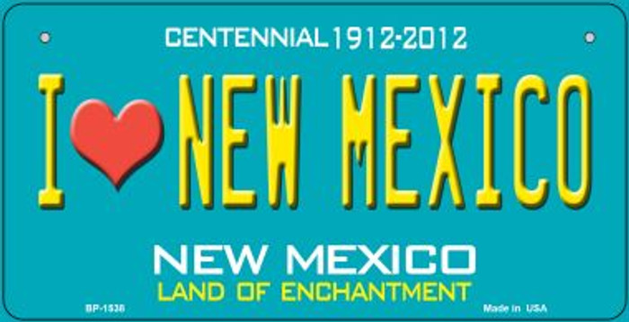 I Love New Mexico Teal New Mexico Wholesale Novelty Metal Bicycle Plate BP-1538