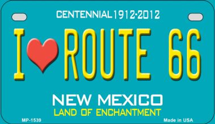 I Love Route 66 Teal New Mexico Wholesale Novelty Metal Motorcycle Plate MP-1539