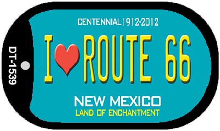 I Love Route 66 Teal New Mexico Wholesale Novelty Metal Dog Tag Necklace DT-1539