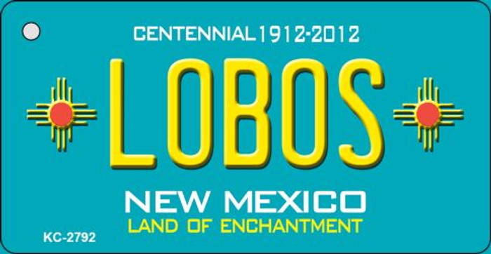 Lobos Teal New Mexico Wholesale Novelty Metal Key Chain KC-2792