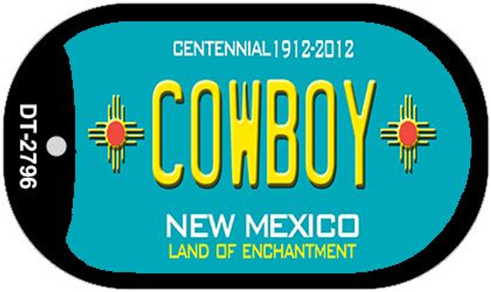 Cowboy Teal New Mexico Wholesale Novelty Metal Dog Tag Necklace DT-2796