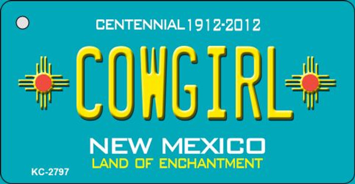 Cowgirl Teal New Mexico Wholesale Novelty Metal Key Chain KC-2797