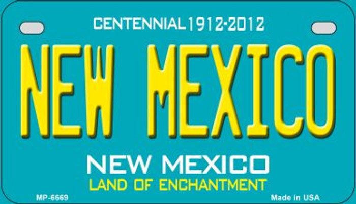 New Mexico Teal New Mexico Wholesale Novelty Metal Motorcycle Plate MP-6669