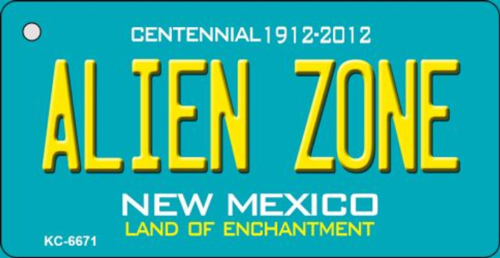 Alien Zone Teal New Mexico Wholesale Novelty Metal Key Chain KC-6671