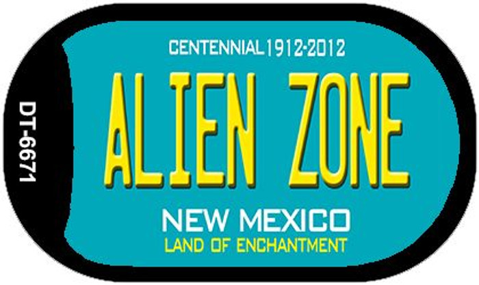 Alien Zone Teal New Mexico Wholesale Novelty Metal Dog Tag Necklace DT-6671