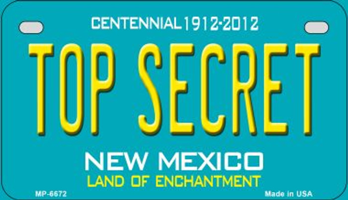 Top Secret Teal New Mexico Wholesale Novelty Metal Motorcycle Plate MP-6672