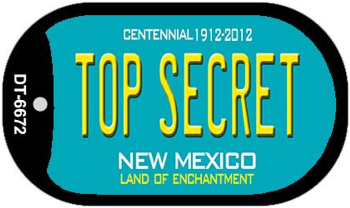 Top Secret Teal New Mexico Wholesale Novelty Metal Dog Tag Necklace DT-6672