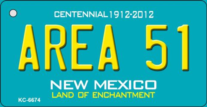 Area 51 Teal New Mexico Wholesale Novelty Metal Key Chain KC-6674