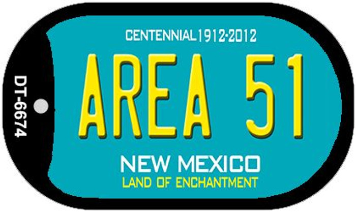 Area 51 Teal New Mexico Wholesale Novelty Metal Dog Tag Necklace DT-6674