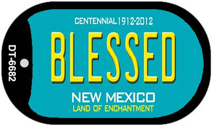 Blessed Teal New Mexico Wholesale Novelty Metal Dog Tag Necklace DT-6682