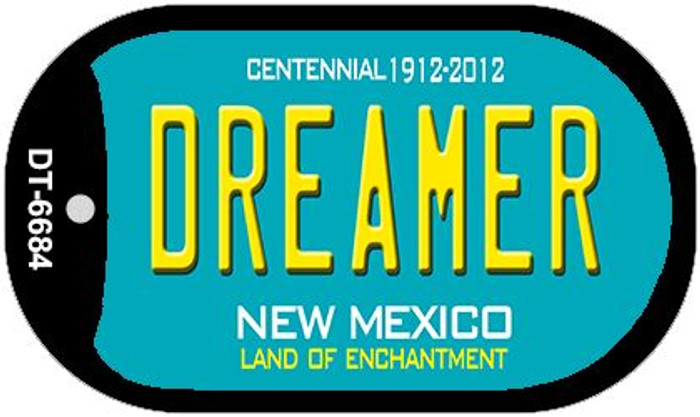 Dreamer Teal New Mexico Wholesale Novelty Metal Dog Tag Necklace DT-6684