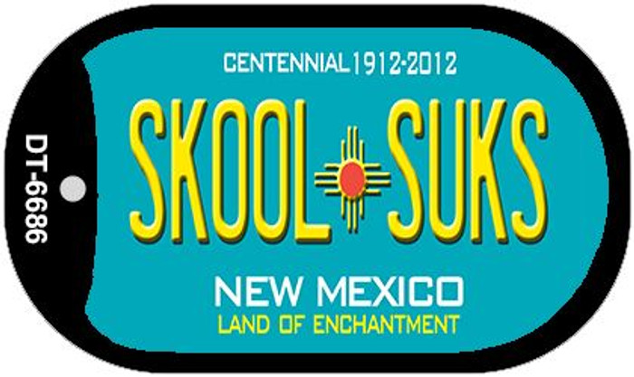 Skool Suks Teal New Mexico Wholesale Novelty Metal Dog Tag Necklace DT-6686