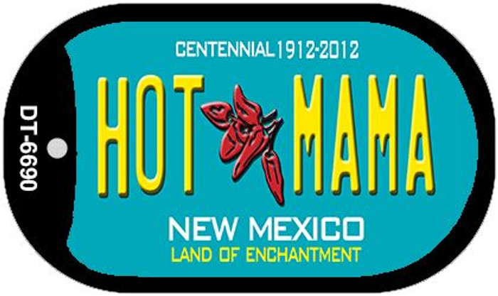Hot Mama Teal New Mexico Wholesale Novelty Metal Dog Tag Necklace DT-6690