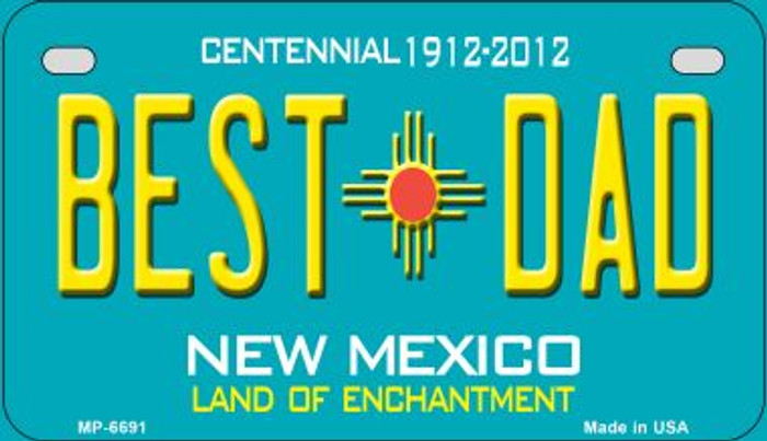 Best Dad Teal New Mexico Wholesale Novelty Metal Motorcycle Plate MP-6691