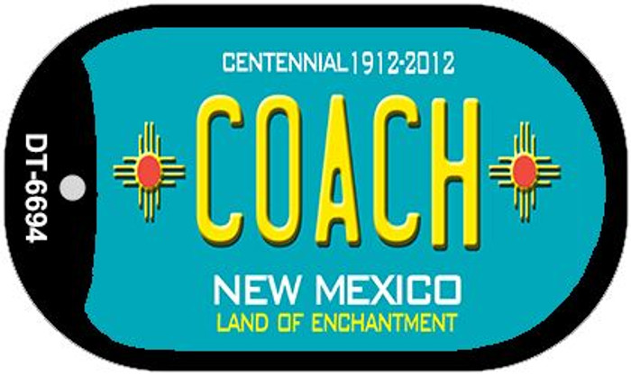 Coach Teal New Mexico Wholesale Novelty Metal Dog Tag Necklace DT-6694