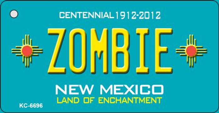 Zombie Teal New Mexico Wholesale Novelty Metal Key Chain KC-6696