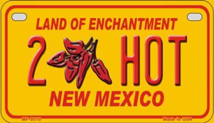 2 Hot Yellow New Mexico Wholesale Novelty Metal Motorcycle Plate MP-8010