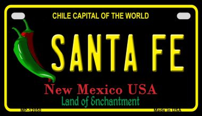 Santa Fe Black New Mexico Wholesale Novelty Metal Motorcycle Plate MP-12050