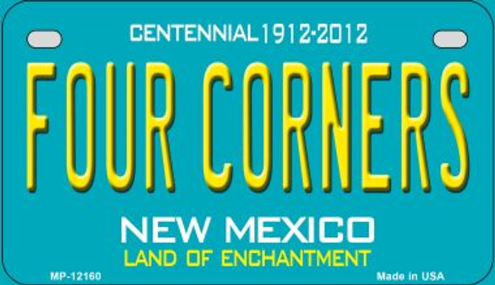 Four Corners Teal New Mexico Wholesale Novelty Metal Motorcycle Plate MP-12160