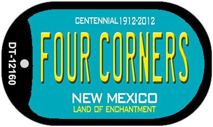 Four Corners Teal New Mexico Wholesale Novelty Metal Dog Tag Necklace DT-12160