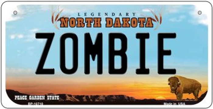 Zombie North Dakota Wholesale Novelty Metal Bicycle Plate BP-10710