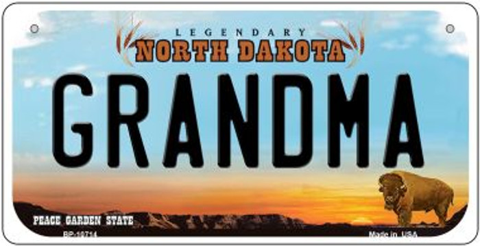 Grandma North Dakota Wholesale Novelty Metal Bicycle Plate BP-10714