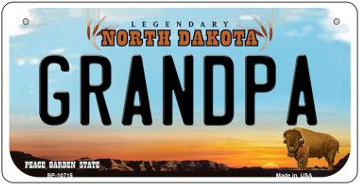 Grandpa North Dakota Wholesale Novelty Metal Bicycle Plate BP-10715