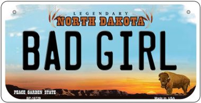 Bad Girl North Dakota Wholesale Novelty Metal Bicycle Plate BP-10729