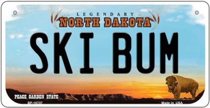 Ski Bum North Dakota Wholesale Novelty Metal Bicycle Plate BP-10737