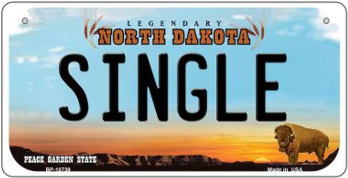 Single North Dakota Wholesale Novelty Metal Bicycle Plate BP-10739