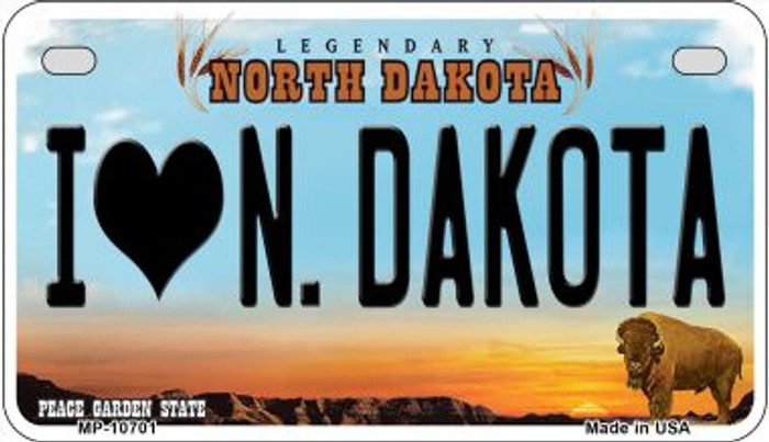 I Love N Dakota Wholesale Novelty Metal Motorcycle Plate MP-10701