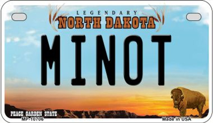 Minot North Dakota Wholesale Novelty Metal Motorcycle Plate MP-10706