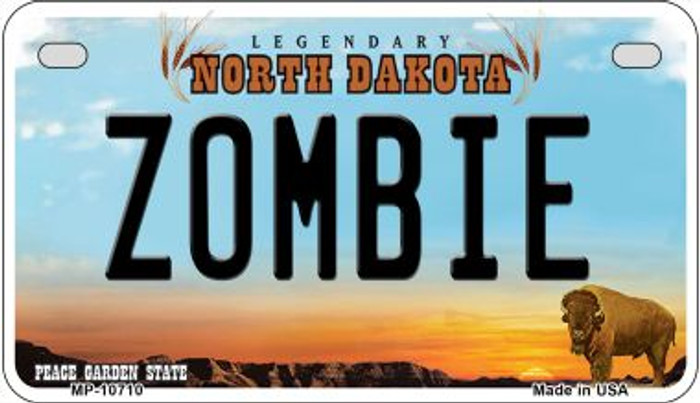 Zombie North Dakota Wholesale Novelty Metal Motorcycle Plate MP-10710