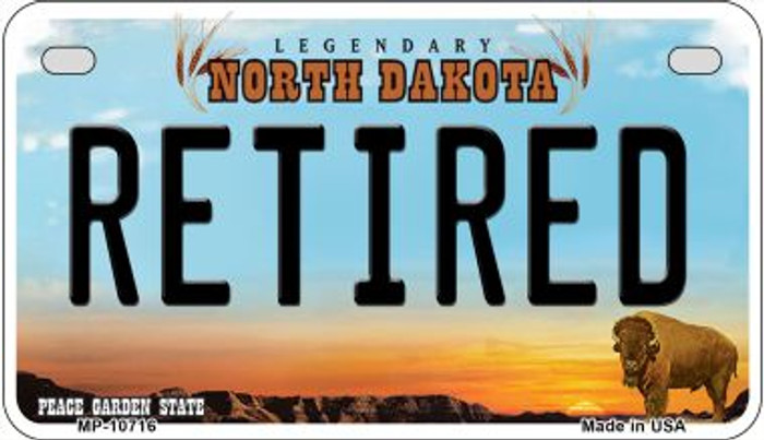 Retired North Dakota Wholesale Novelty Metal Motorcycle Plate MP-10716